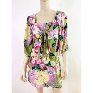 Anthropologie Floral Silk Knot Tunic Dress NWOT 4
